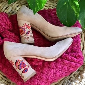 Restricted Floral Embroidered Nude Suede BlockHeel